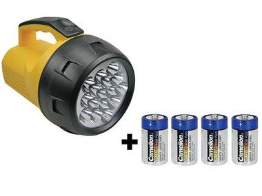 KRACHTIGE LEDZAKLAMP - 16 LEDS - 4 x D-BATTERIJ (EFL05)