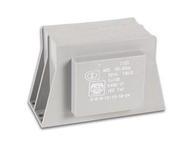MULTISPANNINGSTRANSFORMATOR  50VA 1 x 6-9-12-15-18-24V / 1 x 2.08A (EX50ST)