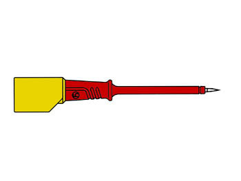 CONTACT-PROTECTED TEST PROBE 4mm WITH SLENDER STAINLESS STEEL TIP / RED (PRÜF 2S) (HM5411)