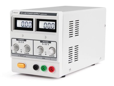 DC-LABOVOEDING 0-30 VDC / 0-3 A MAX MET DUBBEL LCD-SCHERM (LABPS3003)