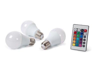 SET MET 3 LEDLAMPEN - 7.5 W - E27 - RGB& WARMWIT (LAL1J5C/SET)
