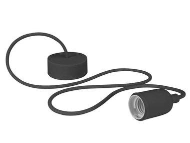 DESIGN LAMPHOUDER MET TEXTIELKABEL - ZWART (LAMPH01B)