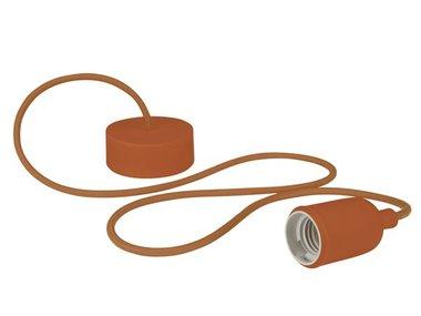 DESIGN LAMPHOUDER MET TEXTIELKABEL - BRUIN (LAMPH01BR)