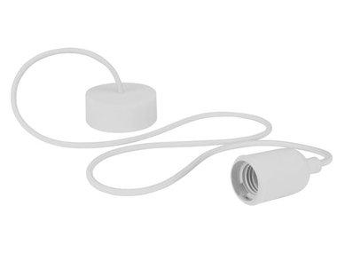 DESIGN LAMPHOUDER MET TEXTIELKABEL - WIT (LAMPH01W)