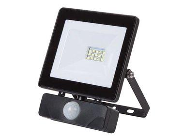 LED-SCHIJNWERPER VOOR BUITENSHUIS - 10 W, NEUTRAALWIT - ZWART - PIR (LEDA6001NW-BP)