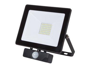 LED-SCHIJNWERPER VOOR BUITENSHUIS - 30 W, NEUTRAALWIT - ZWART - PIR (LEDA6003NW-BP)