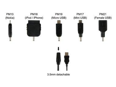 USB LAADSNOER NAAR 5 VERSCHILLENDE GSM STEKKERS (PLUGSPSET8)