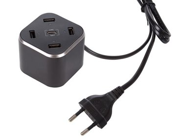 COMPACTE SLIMME LADER MET 4 x USB + 1 x TYPE C UITGANG - max. 8.4 A - max. 42 W - ZWART (PSSEUSB34)
