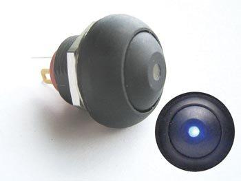 MINIATUUR DRUKSCHAKELAAR MET BLAUWE LED SPST OFF-(ON) (R1396B)