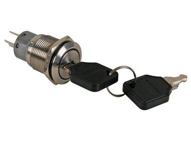 SLEUTELSCHAKELAAR 2 NO 2 NC (DPDT) IN ROESTVRIJ STAAL - 19mm (R1900K2)