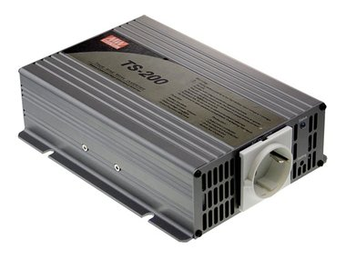 MEAN WELL - DC-AC INVERTER MET ZUIVERE SINUSGOLF  - 200 W - DUITS STOPCONTACT (TS-200-212B)