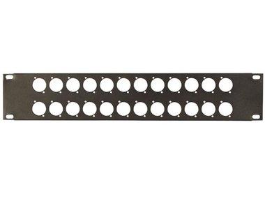 PANEEL VOOR 19 RACK, MET 24 GATEN VOOR XLR CONNECTORS, 2U, DIKTE 1.2mm, ZWART (VDXLRP2)