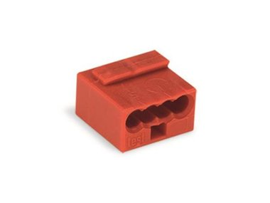 MICRO PUSH-WIRE CONNECTOR FOR JUNCTION BOXES 4-CONDUCTOR TERMINAL BLOCK, RED (WG243804)