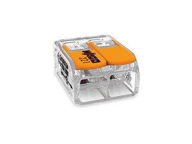 COMPACT-VERBINDINGSKLEM - VOOR ALLE SOORTEN GELEIDERS - MAX. 6 mm² - 2-DRAADS - MET  HENDELS - BEHUIZINGSKLEUR TRANSPARANT (WG221612)
