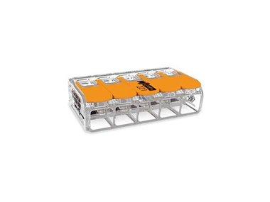COMPACT-VERBINDINGSKLEM - VOOR ALLE SOORTEN GELEIDERS - MAX. 6 mm² - 5-DRAADS - MET  HENDELS - BEHUIZINGSKLEUR TRANSPARANT (WG221615)