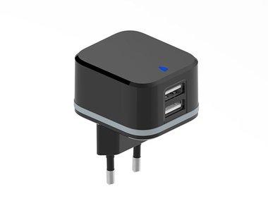 COMPACTE LADER MET 2 USB-AANSLUITINGEN - 5 V - 4.8 A max. - 24 W max. - ZWART (PSS6EUSB40B)