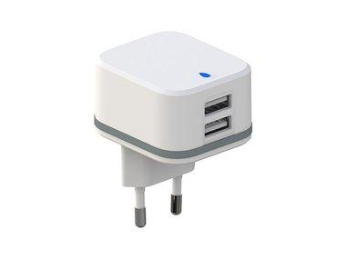 COMPACTE LADER MET 2 USB-AANSLUITINGEN - 5 V - 4.8 A max. - 24 W max. - WIT (PSS6EUSB40W)