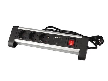 3-VOUDIGE DESKTOP-STEKKERDOOS MET 2 USB-POORTEN - 2.4 A - RANDAARDE (EBP03DSUN1-G)