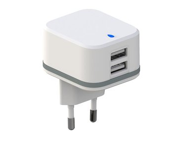 COMPACTE LADER MET 2 USB-AANSLUITINGEN 5 V - 3.4 A max. ( 2.4 + 1 A ) - 17 W max. (PSS6EUSB35W)