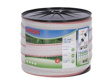 Profi afrasteringsband 40mm, 11x0,30 TriC, 200m,  wit/rood (COR59502)