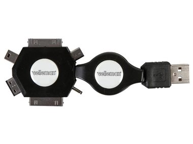 6-IN-1 ZELFOPROLLENDE USB 2.0-LAADKABEL - MANNELIJK/MANNELIJK - ZWART - 53 cm (PLUGSPSET11)