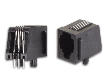 MODULAIRE CONNECTORS RJ10 4P4C VOOR PCB, HAAKS (4P4CPCB) per 25st