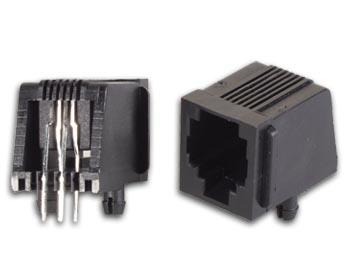 MODULAIRE CONNECTORS RJ12 6P4C VOOR PCB, HAAKS (6P4CPCB) per 25st