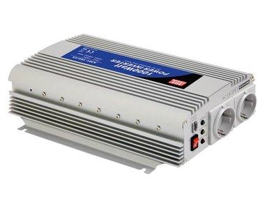 MEAN WELL - DC-AC INVERTER MET GEMODIFICEERDE SINUSGOLF - 1000 W - DUITS STOPCONTACT (A301-1K0-F3)