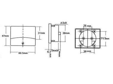 ANALOGE PANEELMETER VOOR DC STROOMMETINGEN 30A DC / 60 x 47mm (AIM6030A)