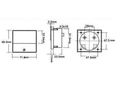 ANALOGE PANEELMETERVOOR DC SPANNINGSMETINGEN 50V DC / 70 x 60mm (AVM7050)