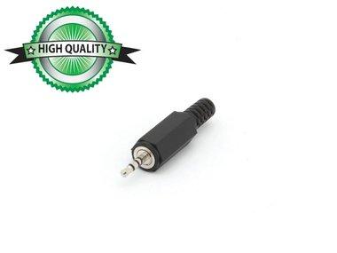 MANNELIJKE 2.5mm STEREO JACK - PLASTIC ZWART (CA002H) per 10st