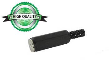 VROUWELIJKE 2.5mm MONO JACK - PLASTIC ZWART (CA007) per 25st