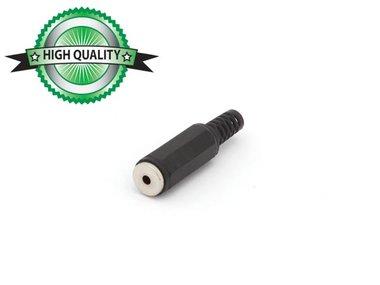 VROUWELIJKE 2.5mm MONO JACK - PLASTIC ZWART (CA007H) per 10st