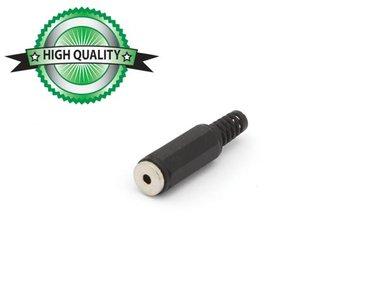 VROUWELIJKE 2.5mm STEREO JACK - PLASTIC ZWART (CA008H) per 10st