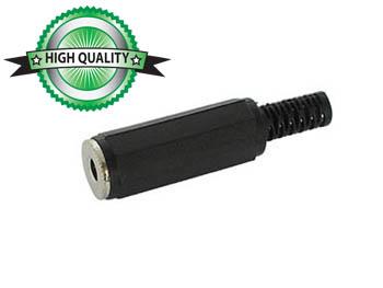 VROUWELIJKE 3.5mm MONO JACK - ZWART PLASTIC (CA009) per 25st