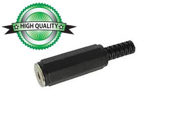 VROUWELIJKE 3.5mm STEREO JACK - ZWART PLASTIC (CA010) per 25st