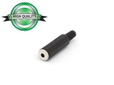 VROUWELIJKE 3.5mm STEREO JACK - ZWART PLASTIC (CA010H) per 10st