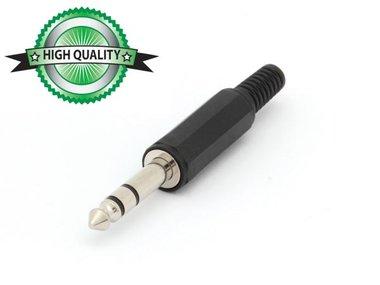 MANNELIJKE 6.35mm STEREO JACK - PLASTIC ZWART (CA020H) per 10st