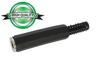 VROUWELIJKE 6.35mm MONO JACK MET PLASTIC HULS - VERNIKKELD - ZWART (CA033) per 25st