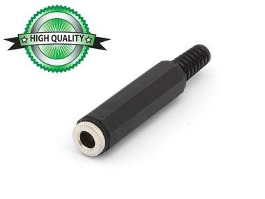 VROUWELIJKE 6.35mm MONO JACK MET PLASTIC HULS - VERNIKKELD - ZWART (CA033H) per 10st