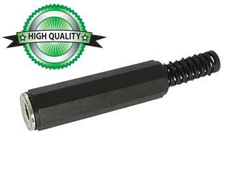VROUWELIJKE 6.35mm STEREO JACK MET PLASTIC HULS - VERNIKKELD - ZWART (CA034) per 25st
