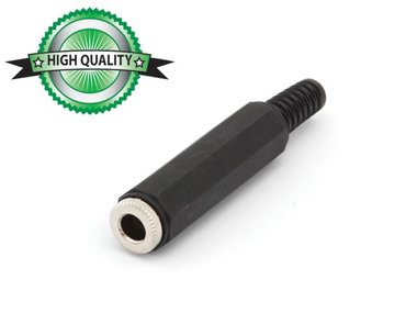 VROUWELIJKE 6.35mm STEREO JACK MET PLASTIC HULS - VERNIKKELD - ZWART (CA034H) per 10st