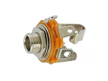 VROUWELIJKE 6.35mm STEREO JACK  - OPEN CIRCUIT - CHASSISMONTAGE (CA041) per 25st