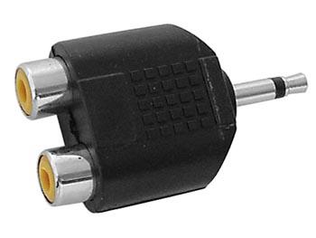 MANNELIJKE 3.5mm MONO JACK NAAR 2 x RCA VROUWELIJK (CAA17) per 25st