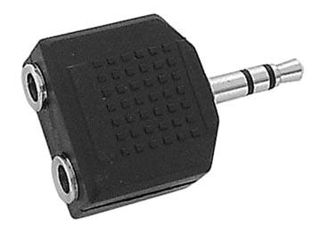 DUBBELE VROUWELIJKE 3.5mm  STEREO JACK NAAR MANNELIJKE 3.5mm STEREO JACK (CAA19) per 10st