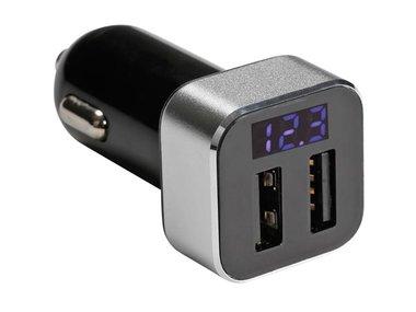 USB-LADER VOOR DE AUTO MET 2 x USB-AANSLUITING EN DISPLAY (5 VDC - 2.1 A) - 10 W max. (CARSUSB20)
