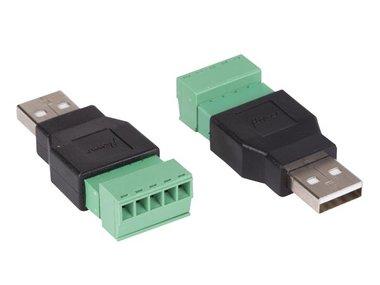 2 x USB A MANNELIJK NAAR 5-POLIGE SCHROEFAANSLUITING (CV051)