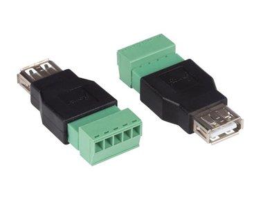 2 x USB A VROUWELIJK NAAR 5-POLIGE SCHROEFAANSLUITING (CV052)