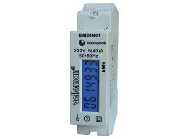 EENFASIGE kWh-METER VOOR DIN-RAIL MONTAGE - 1 MODULE (EMDIN01)