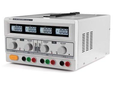 DUBBELE DC-LABOVOEDING - 2 x 0-30 VDC / 0-3 A + 5 VDC vast / 3 A MAX MET 4 LCD-SCHERMEN (LABPS23023)